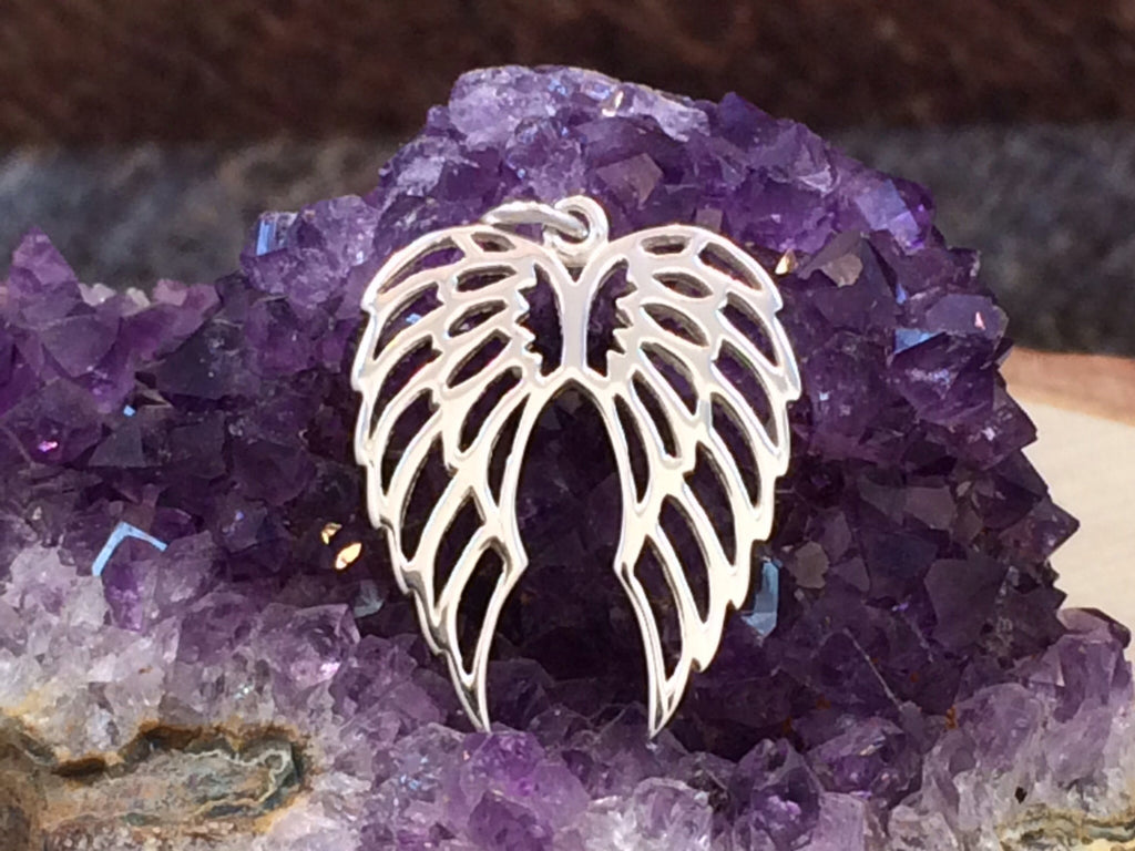 Angel Wings Charm, Angel Wings Pendant, Sterling Silver Angel Wings, Bird Wings Charm, Openwork Angel Wings Charm, PS01152