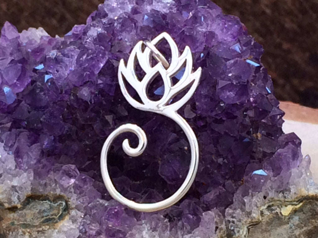 Charm Holder, Lotus Charm, Lotus Pendant, Flower Pendant, Charm Hanger, Sterling Silver Charms, PS01351