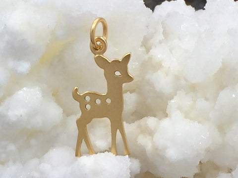 Fawn Charm, Fawn Pendant, Deer Charm, Deer Pendant, Gold Plated Charm, Woodland Charm, PG0123