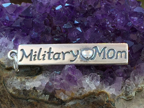Military Mom Charm, Military Mom Pendant, Military Charm, Sterling Silver Charm, Sterling Silver Pendant, PS1416