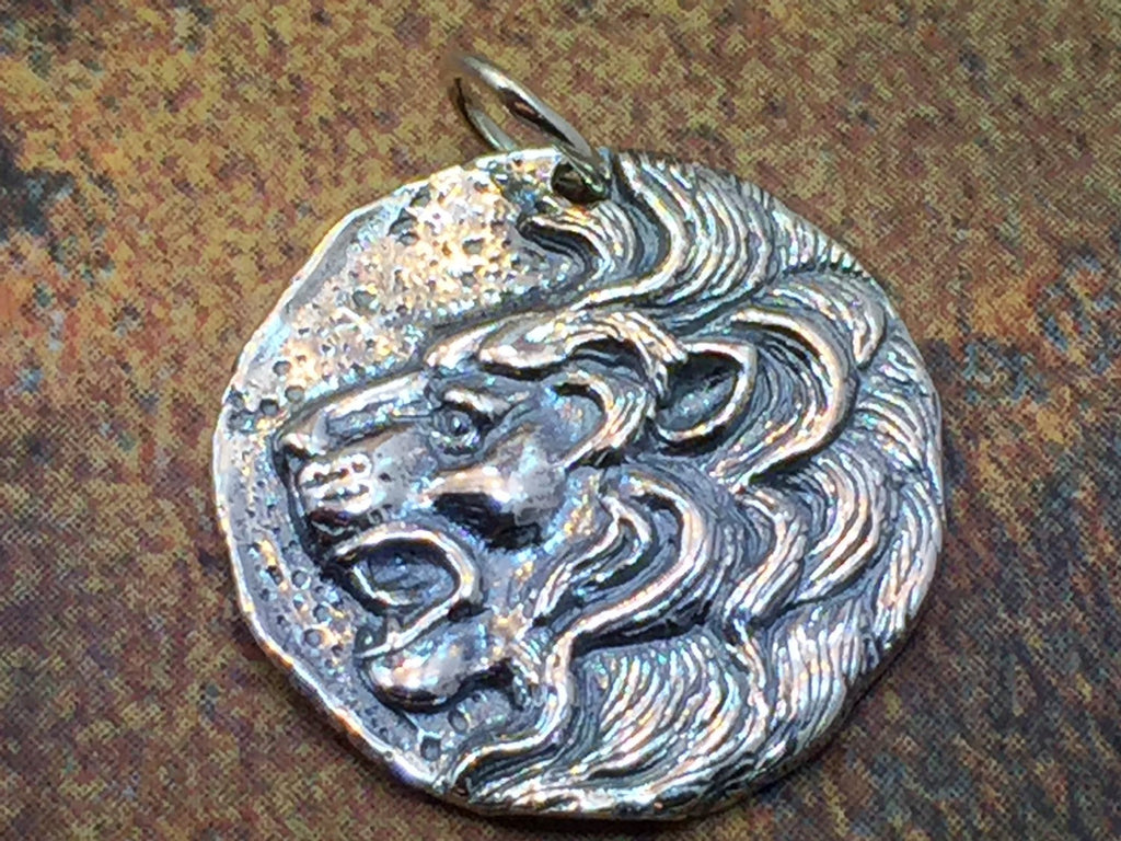 Lion Head Charm, Lion Charm, Coin Charm, Mystical Charm, Mythical Charm, Sterling Silver, PS01204
