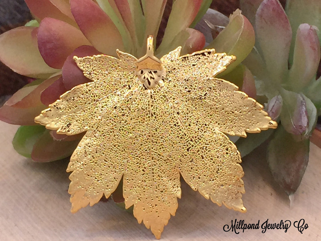 Full Moon Maple Leaf Pendant, Gold Maple Leaf Pendant,  Gold Maple Leaf, Leaf Pendant, Nature Pendant, Large Leaf Pendant