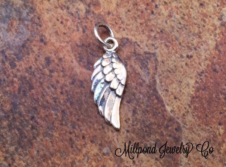Angel Wing Charm, SMALL Angel Wing Pendant, Sterling Silver Angel Wing Charm, Feather Charm, Sterling Silver Angel Wing Pendant, PS0185