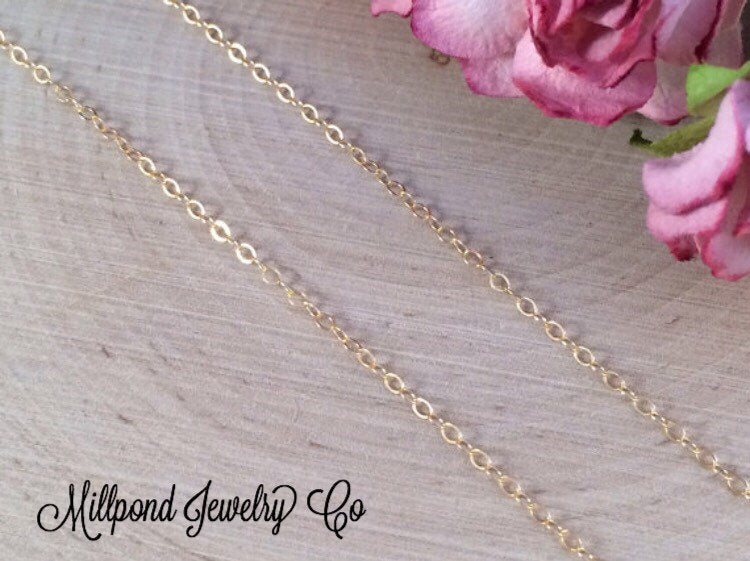 Necklace Chain, Replacement Chain, Gold Filled Chain,  Flat Cable Chain, Loop Chain, Necklaces, 20 Inch Chain