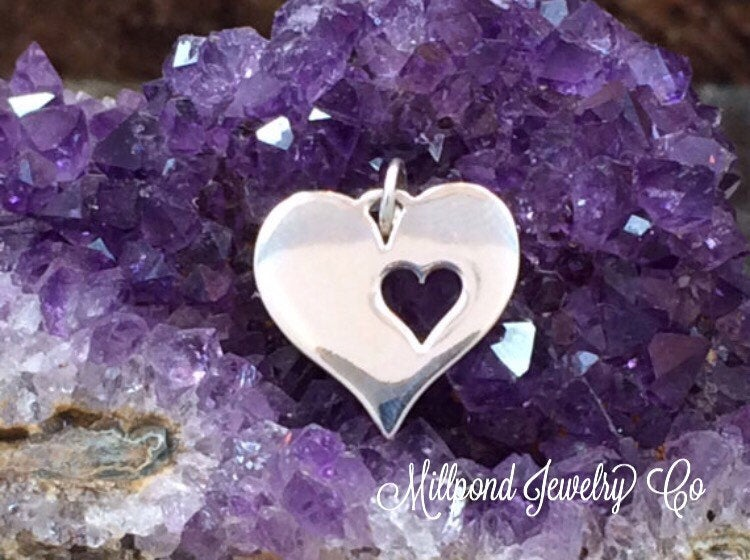 Heart Charm, Heart Cut Out Charm, Heart Charm, Sterling Silver Heart Charm, PS01165