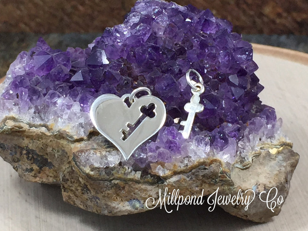 Key to My Heart Charm Set, You Hold the Key to My Heart, Mother and Child Heart Charms, Sterling Silver Heart Charms, Key and Heart Charms
