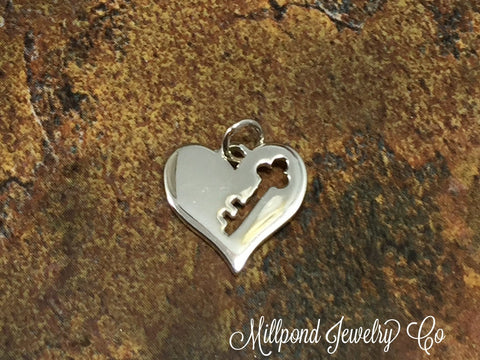 Key to My Hart Charm, Heart Charm, Heart Key Cut Out Charm, Sterling Silver Heart Charms