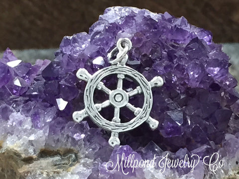 Ship Wheel Charm, Helm Charm, Sterling Silver Charm, Silver Charm, Silver Pendant, Pirate Charm, PS01249