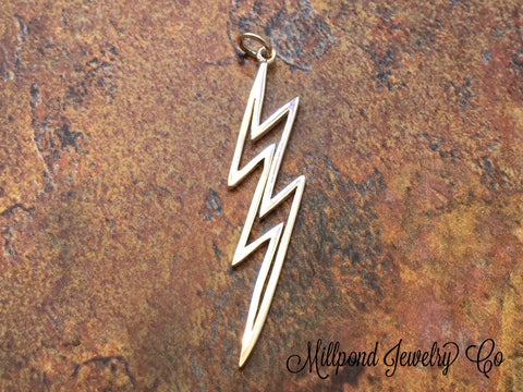 Lightening Bolt Charm, Lightening Charm, Weather Charm, Sterling Silver Charm, Large, Witches and Wizards Charm,  PS01245