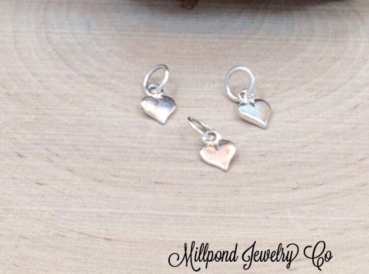 Tiny Heart Charm, Heart Cut Out Charm, Heart Charm, Sterling Silver Heart Charm, Heart Charm, 1 Piece, PS01166
