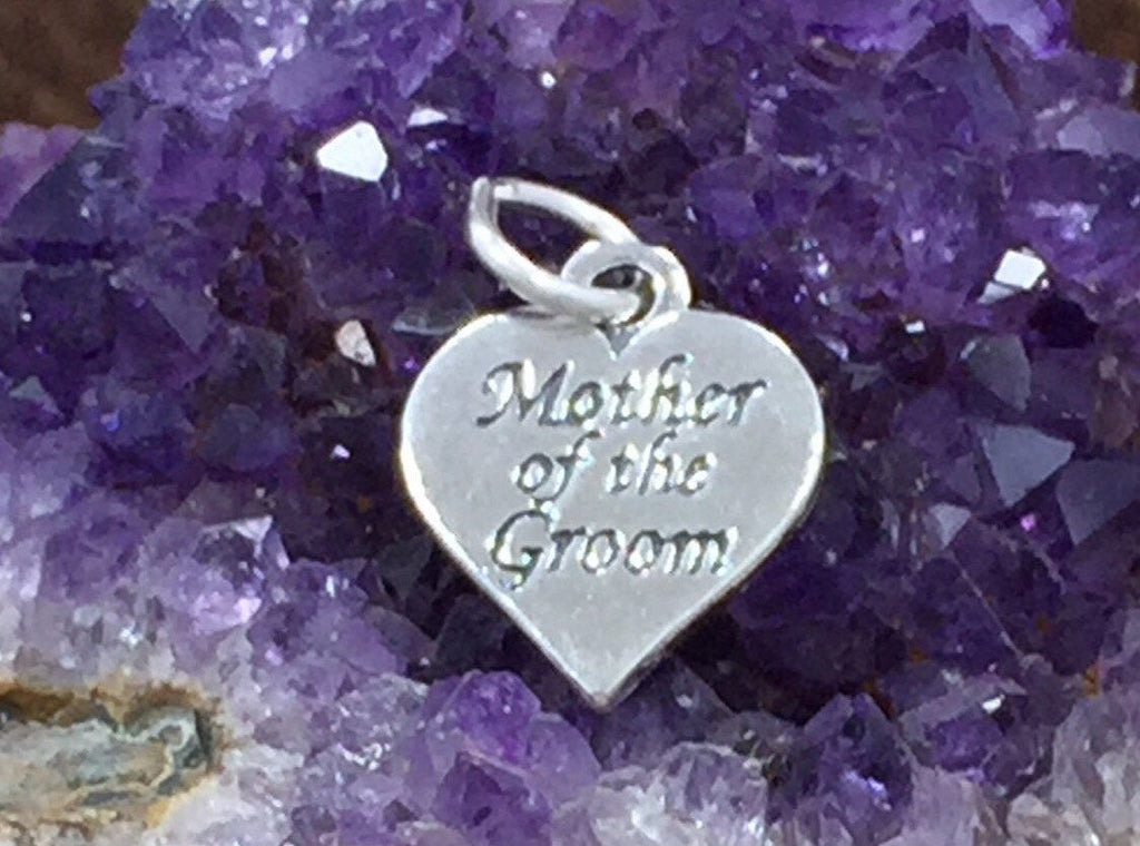 Mother of The Groom Charm, Mother of the Groom Gift, Sterling Silver Charm, Heart Charm, PS1446