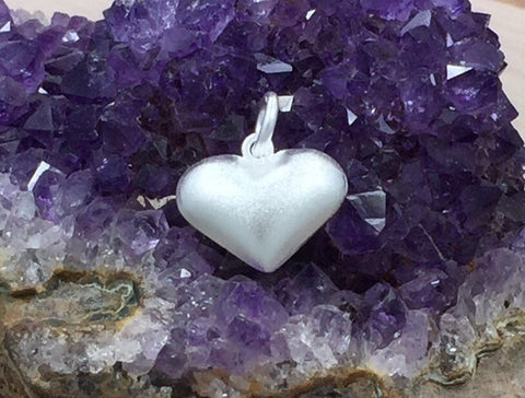 Puff Heart, Large Puff Heart, Puffy Heart, Heart Charm, Heart Pendant, Sterling Silver, Satin Charm, PS0211