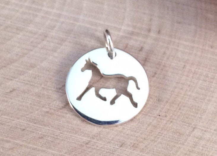 Horse Charm, Horse Pendant, Horse Disk Charm, Horse Cut Out Charm, Sterling Silver Charm