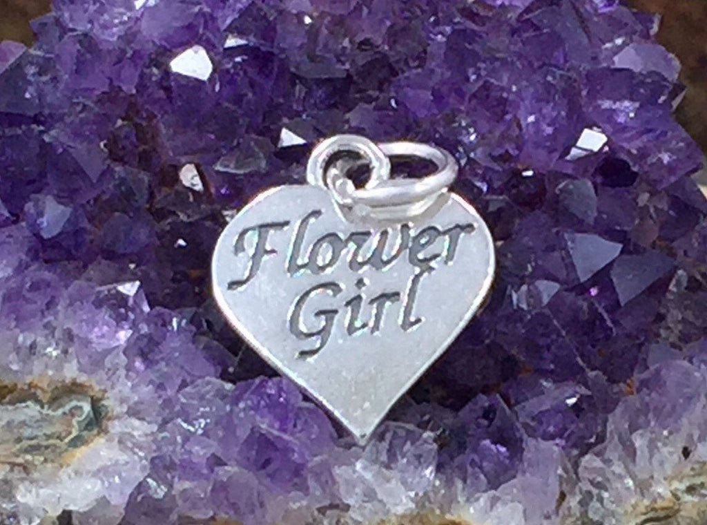 Flower Girl Charm, Flower Girl Heart Charm, Wedding Charm, Heart Charm, Sterling Silver Charm, PS1448