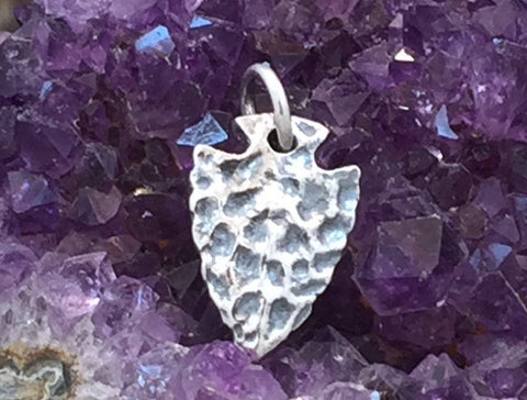 Arrowhead Charm, Arrowhead Pendant, Sterling Silver Arrowhead Charm, Textured Arrowhead, PS01266
