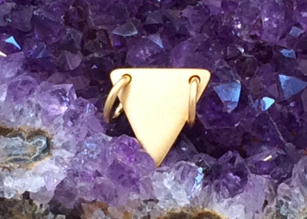 Triangle Festoon, Small Triangle Charm, Triangle Pendant, Triangle Stamping Blank, Gold Plated Charm, PG0144