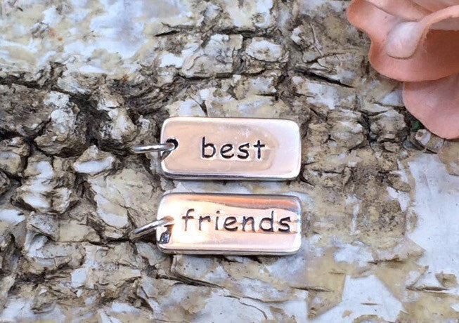 Best Friends Tag, Sterling Silver Best Friends Tag, Best Friends Charm, Best Friends Pendant, Sterling Silver Charm, PS0186