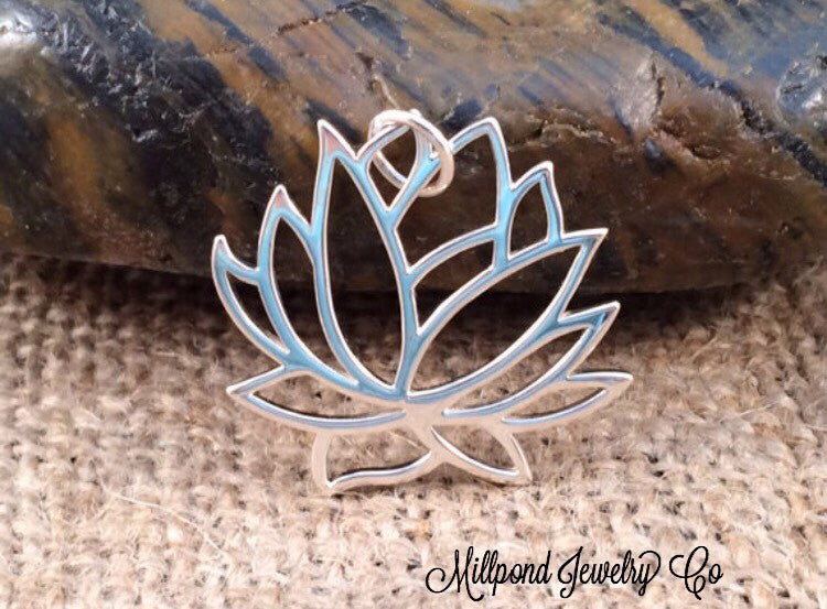 Lotus Charm, Lotus Pendant, Large Lotus Charm, Sterling Silver Charms, PS0153