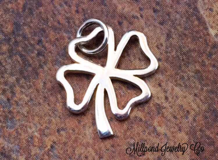 Four Leaf Clover Charm, Sterling Silver Four Leaf Clover, Four Leaf Clover Pendant, Sterling Silver Pendant, Sterling Silver Charm