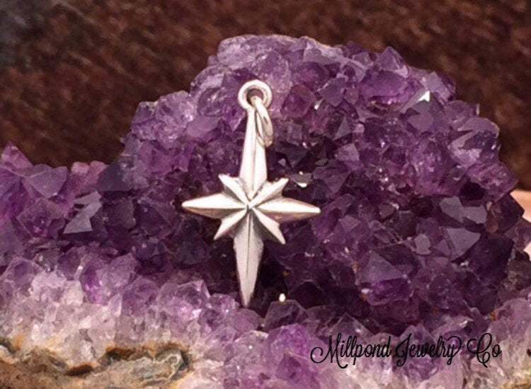 North Star Charm, Star Charm, North Star Pendant, Sterling Silver Charm, Christmas Star, Christ Star,  PS01184