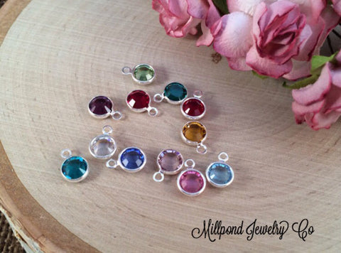 Birthstone Charms, Connector Charms, Bezel Set Birthstone Charms, Crystal Birthstones, Silver Plated Birthstone Charms, 1 Piece