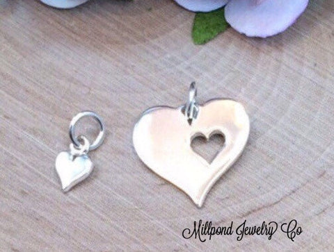 Mother and Child Heart Charms, Mother Chil Heart Cut Out Set, Heart Charm, Sterling Silver Heart Charms, Double Heart Charms