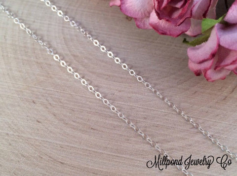 Necklace Chains, Replacement Chains, Sterling Silver Chains, Cable Chain, Loop Chain, Necklaces, Sterling Silver, 16 Inch Chain, CS160204