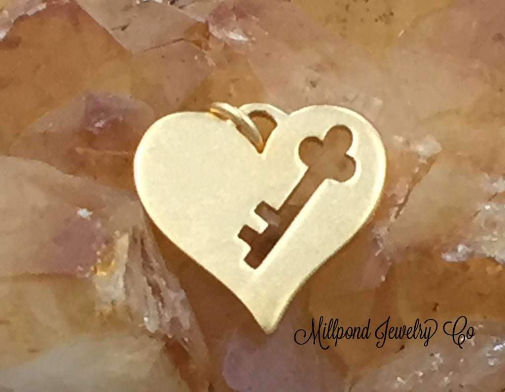 Key to My Hart Charm, Heart Charm, Heart Key Cut Out Charm, Gold Plated Sterling Silver Heart Charms