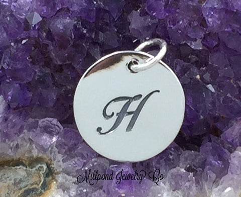 Letter H Charm, Alphabet Charm, Sterling Silver Charm, Silver Charm,Letter Charm, H Charm, Script Letter Charm
