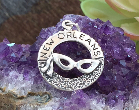 Mardi Gras Charm, Bourbon/Canal Street Charm, Louisiana Charm, New Orleans Charm, Sterling Silver, PS1428