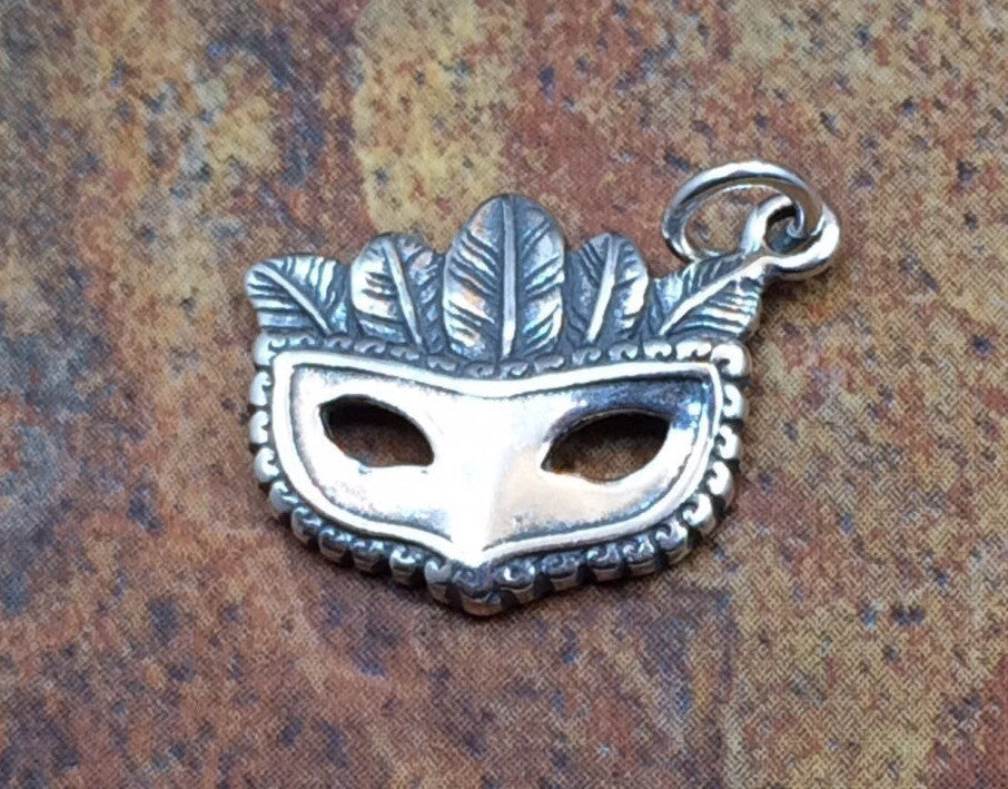 Mardi Gras Charm, Mardi Gras Pendant, Mardi Gras Mask, Mardi Gras Mask with Feathers, Eye Mask, Sterling Silver