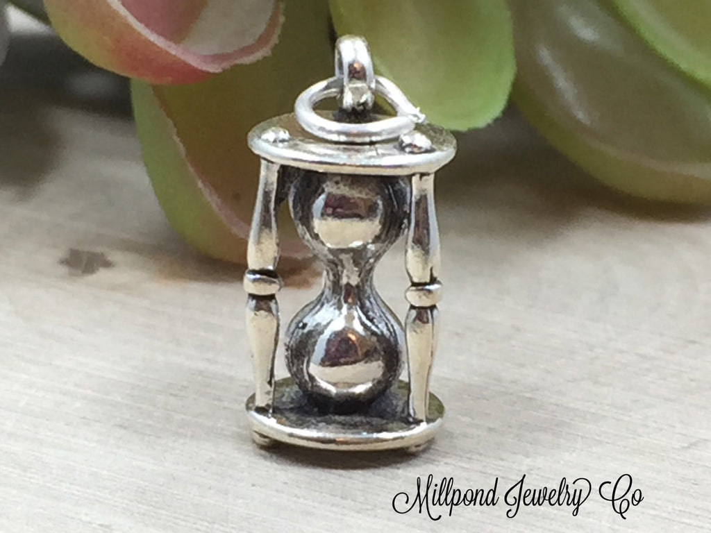 Hour Glass Charm, Hour Glass Pendant, Antique Charm, Sterling Silver Charm, Sterling Silver Pendant, PS0669