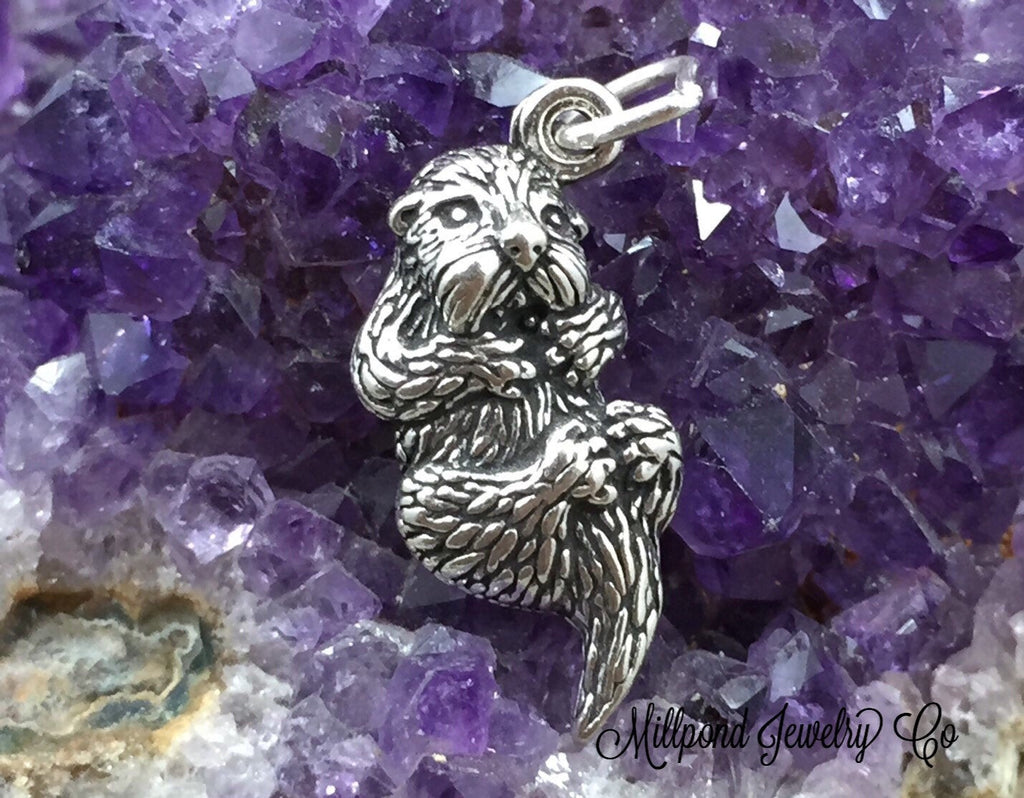 Otter Charm, Otter Pendant, Water Charm, River Charm, Beach Charm, Sterling Silver, PS0687