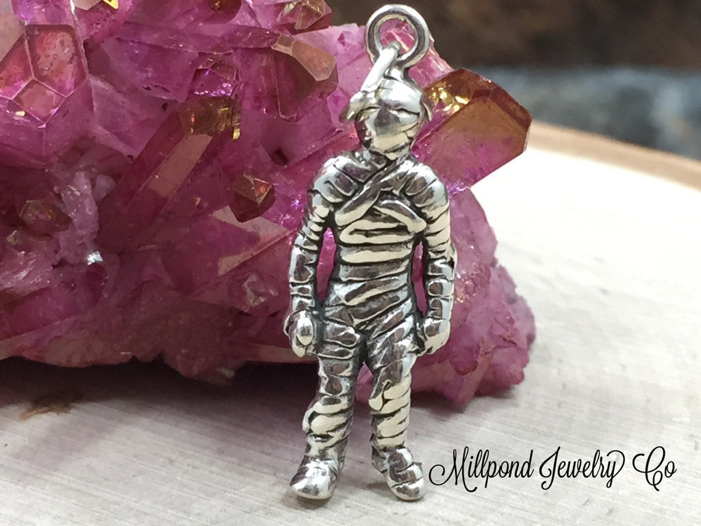 Mummy Charm, Halloween Charm, Sterling Silver Charm, Sterling Silver Pendant, PS0681