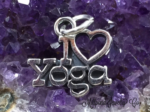 Sterling Silver Charm, Yoga Charm, Yoga Pendant, I Love Yoga Charm, Exercise Charm, PS1454