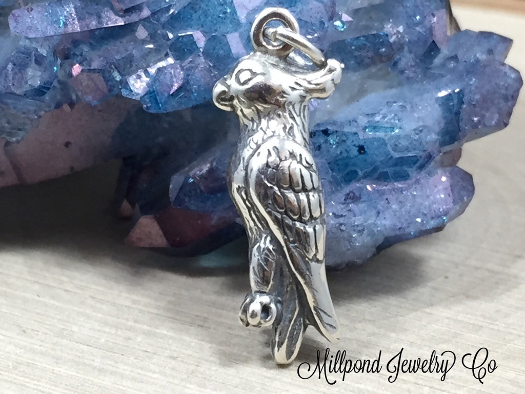 Cockatiel Charm, Cockatiel Pendant, Bird Charm, Bird Lover, Bird Watcher, Sterling Silver Charm, Jewelry Supplies, PS1444