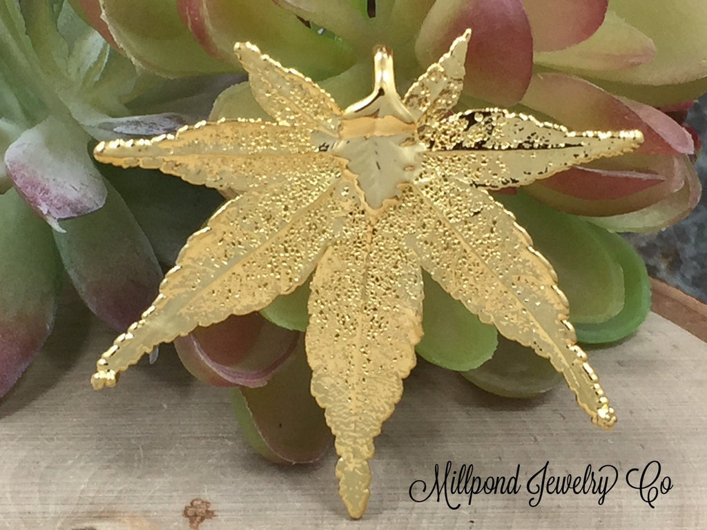 Japanese Maple Leaf Pendant, Gold Maple Leaf Pendant,  Gold Maple Leaf, Leaf Pendant, Nature Pendant, Large Leaf Pendant, PG2902