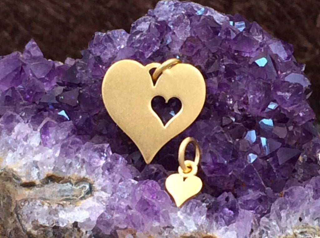 Mother and Child Heart Charms, Mother and Child Heart Cut Out Set, Heart Charm, Gold Plated Sterling Silver, Double Heart Charms, PG0108