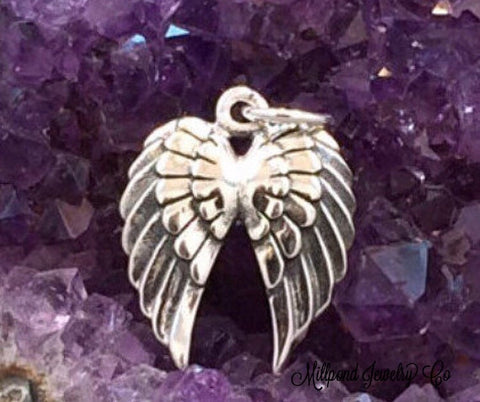 Angel Wing Charm, Double Angel Wings Charm, Angel Wings Charm, Sterling Silver Angel Wings Charm, Feather Charm, PS01153