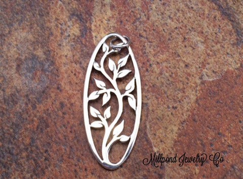 Tree of Life Pendant, Oval Tree of Life Charm, Tree of Life Charm, Family Tree Charm, Sterling Silver Oval Tree of Life, PS0123