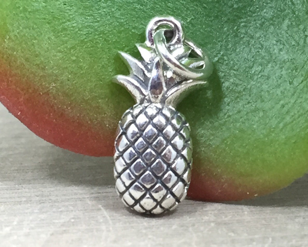 Pineapple Charm, Tropical Charm, Hawaii Charm, Fruit Charm, Sterling Silver Charm, PS01295