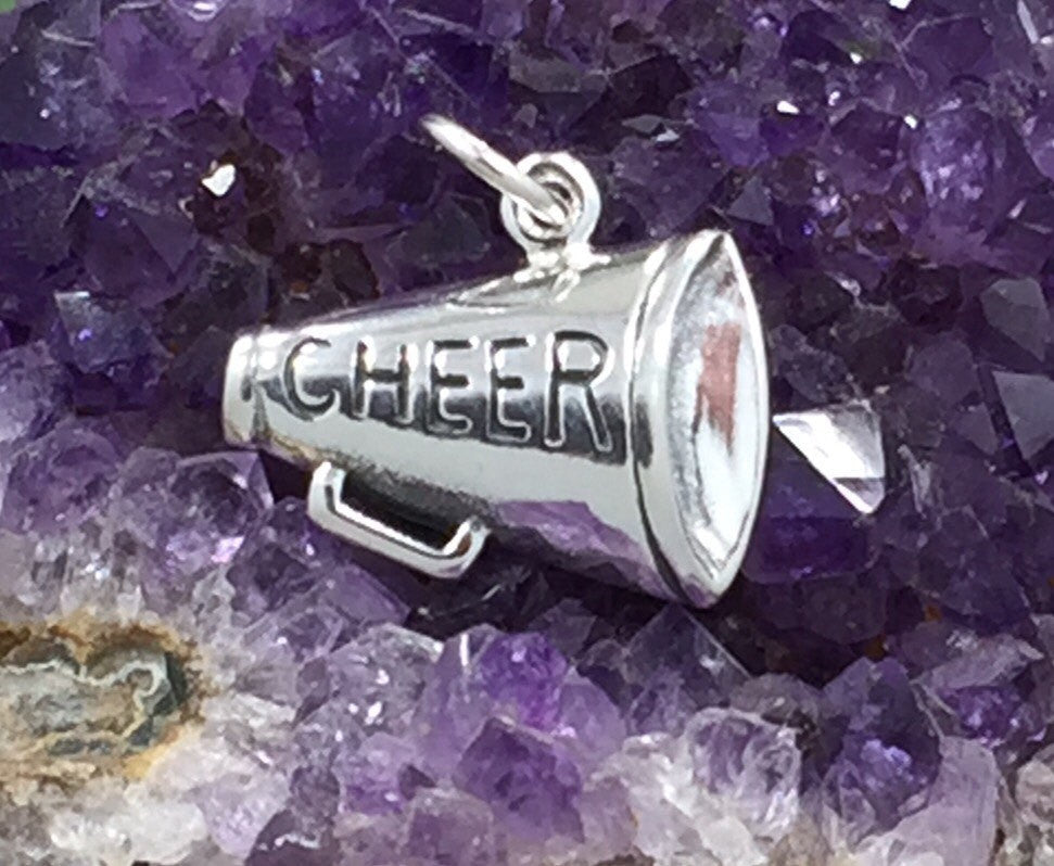Cheer Charm, Megaphone Charm, Cheerleader Charm, Dance Charm, Sterling Silver, PS10289