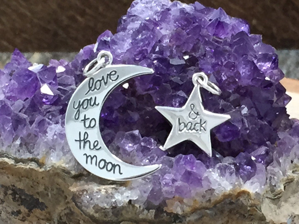 Love You to the Moon And Back And Star Charm, Mother and Child Charms,  Love You To The Moon And Back, Sterling Silver Charm, PS01310