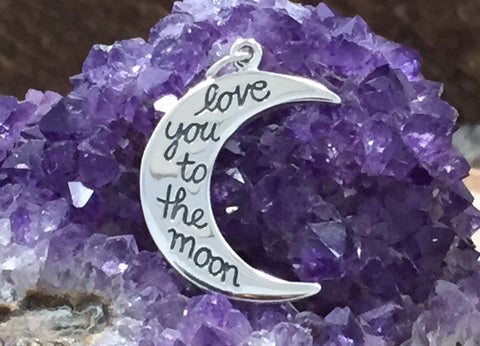 Love You to The Moon Charm, Love You To The Moon, Crescent Moon Charm, Quote Charm, Sterling Silver Charm, PS01308