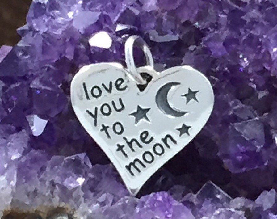 Love You to the Moon Heart Charm, Love You to The Moon Charm, Love You To The Moon, Moon Charm, Quote Charm, Sterling Silver Charm, PS01303