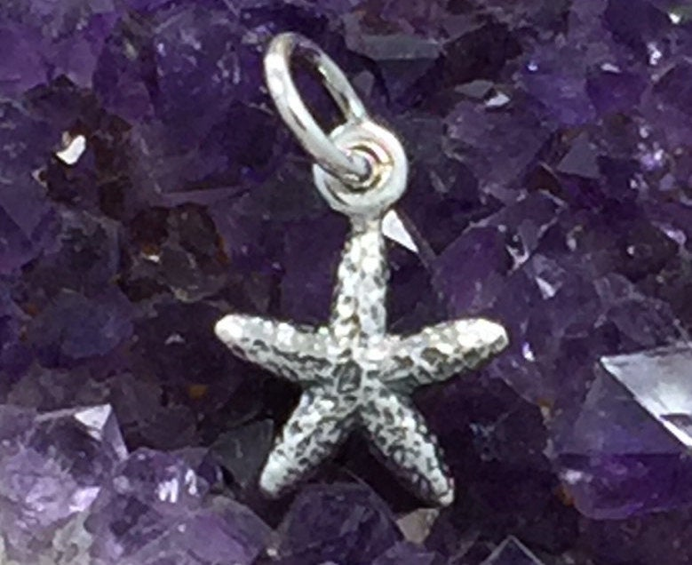 Starfish Charm, TINY Starfish Pendant, Sea Star Charm, Sterling Silver Charm, Ocean Charm, Beach Charm, Beach Wedding Charm, PS01299