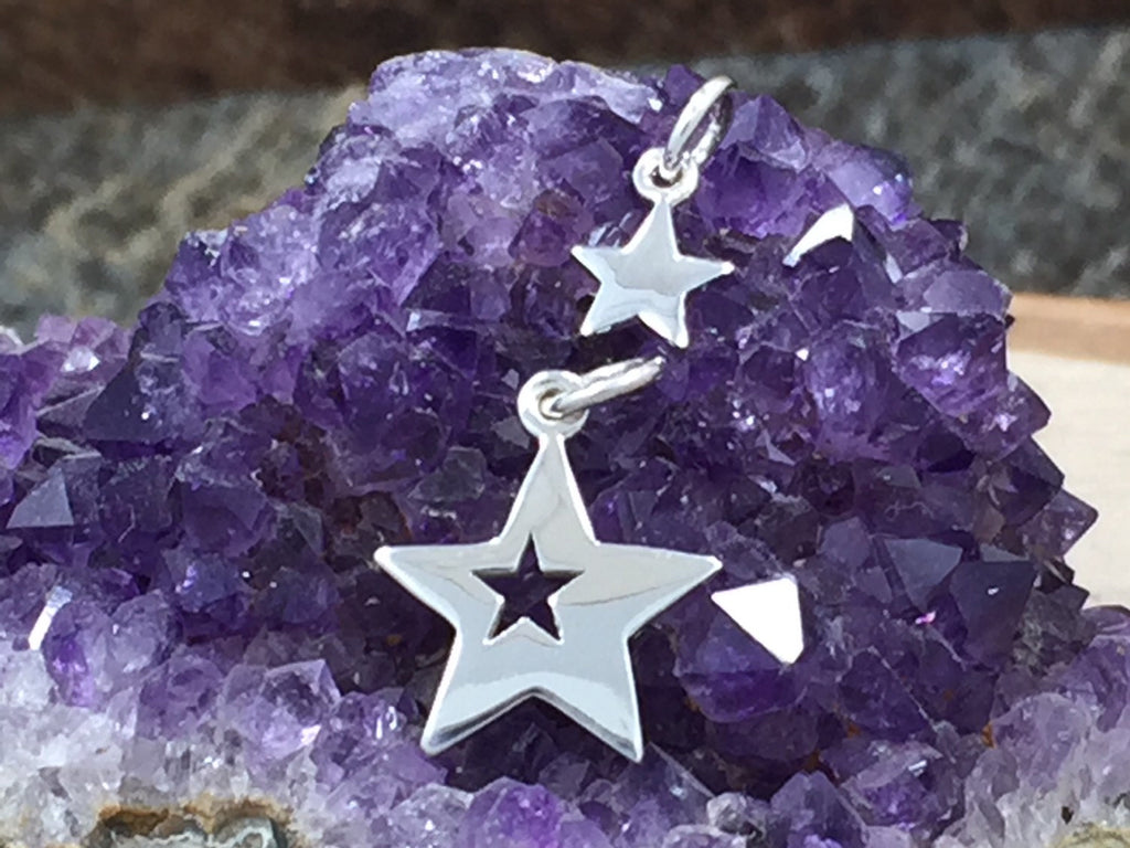 Mother and Child Star Charms, Mother Child Star Cut Out Set, Star Charm, Sterling Silver Star Charms, PS01311