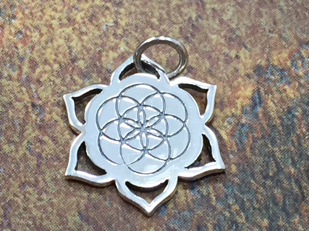 Seed of Life Charm, Seed of Life on Lotus Charm, Lotus charm, Sterling Silver Charm, PS01317