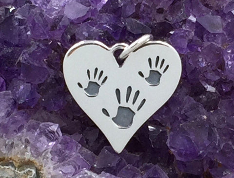 Heart Charm with Big and Little Hand Prints, Mom and Child Hand Print Charm, Hand Print Charm, Sterling Silver Charm, PS01337