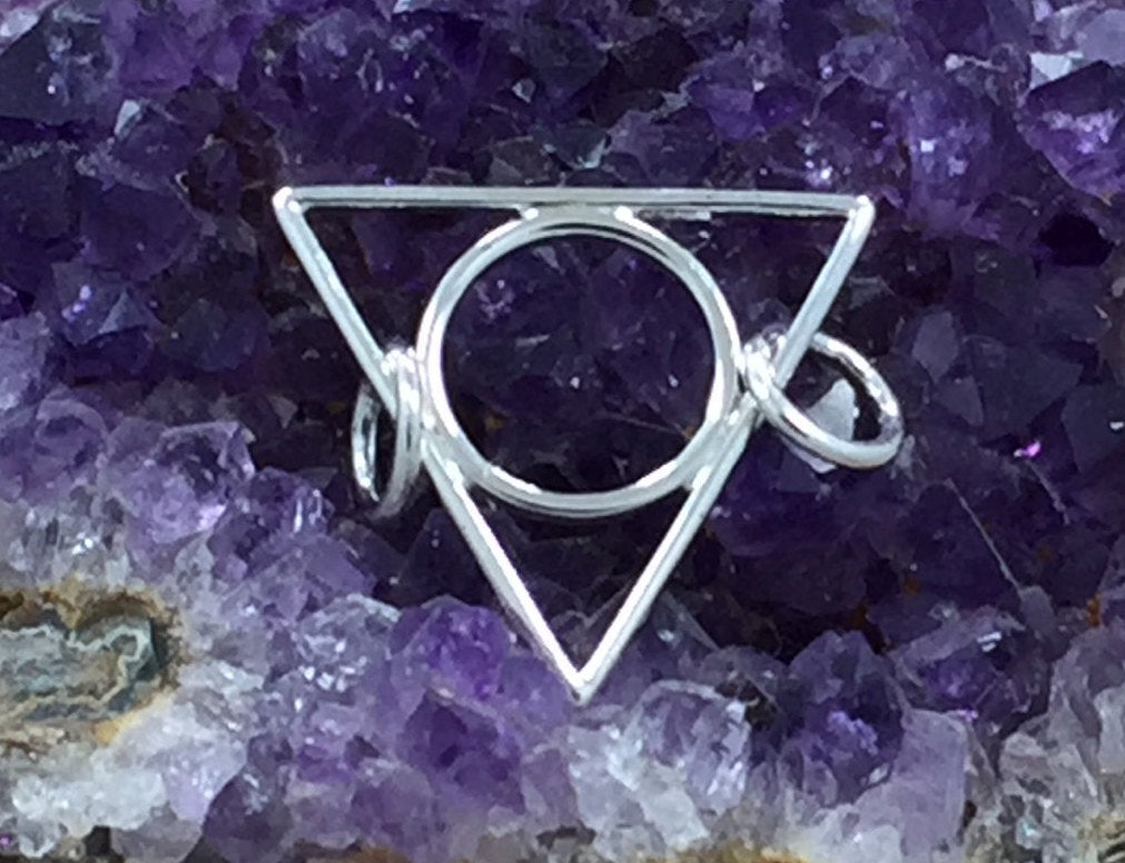 Triangle Pendant, Open Triangle Link, Small Triangle Circle Charm, Triangle Link Charm, Sterling Silver Triangle Circle, PS01343